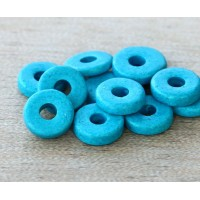 8mm Round Heishi Disk Matte Ceramic Beads, Sky Blue