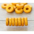 8mm Round Heishi Disk Matte Ceramic Beads, Yellow, Pack of 20