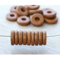 8mm Round Heishi Disk Matte Ceramic Beads, Tobacco Brown, Pack of 20