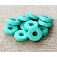 8mm Round Heishi Disk Matte Ceramic Beads, Turquoise
