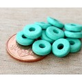 8mm Round Heishi Disk Matte Ceramic Beads, Turquoise, Pack of 20