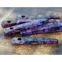 30mm Spike Matte Ceramic Beads, Fancy Purple Mix