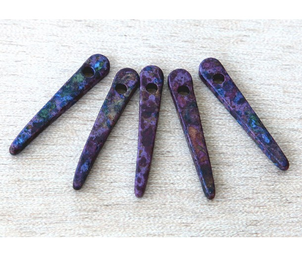 30mm Spike Matte Ceramic Beads, Fancy Purple Mix