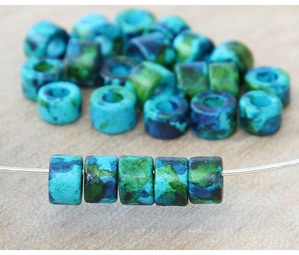 6x4mm Mini Barrel Matte Ceramic Beads, Blue Green Mix