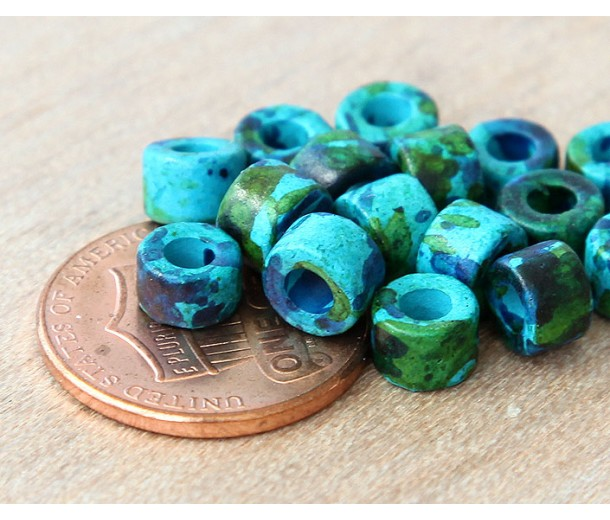 6x4mm Mini Barrel Matte Ceramic Beads, Blue Green Mix, Pack of 20