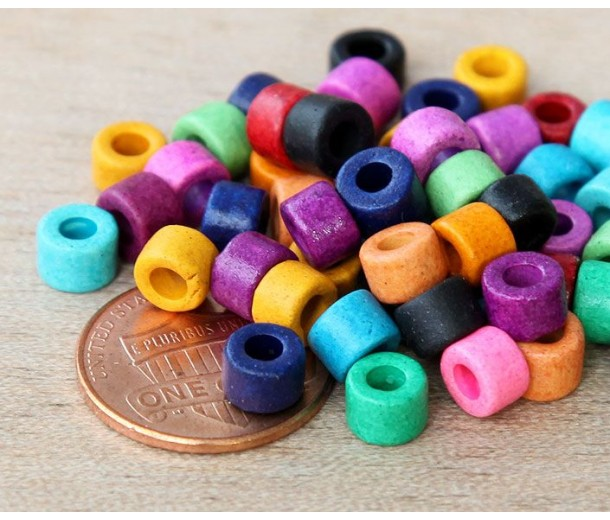 6x4mm Mini Barrel Matte Ceramic Beads, Bright Assortment