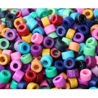 6x4mm Mini Barrel Matte Ceramic Beads, Bright Assortment, Pack of 20