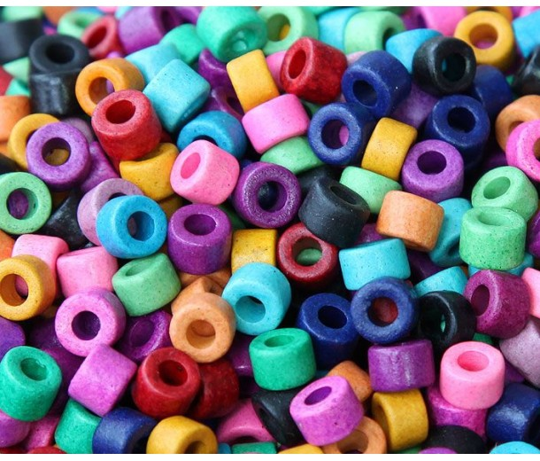 6x4mm Mini Barrel Matte Ceramic Beads, Bright Assortment, Pack of 20