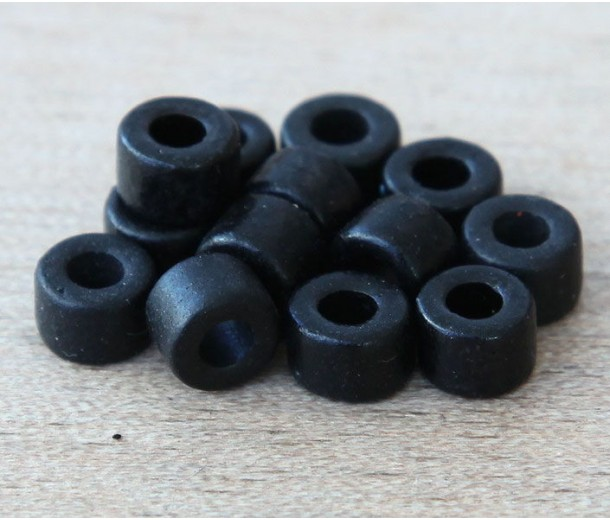 6x4mm Mini Barrel Matte Ceramic Beads, Black
