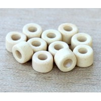 6x4mm Mini Barrel Matte Ceramic Beads, Ecru, Pack of 20