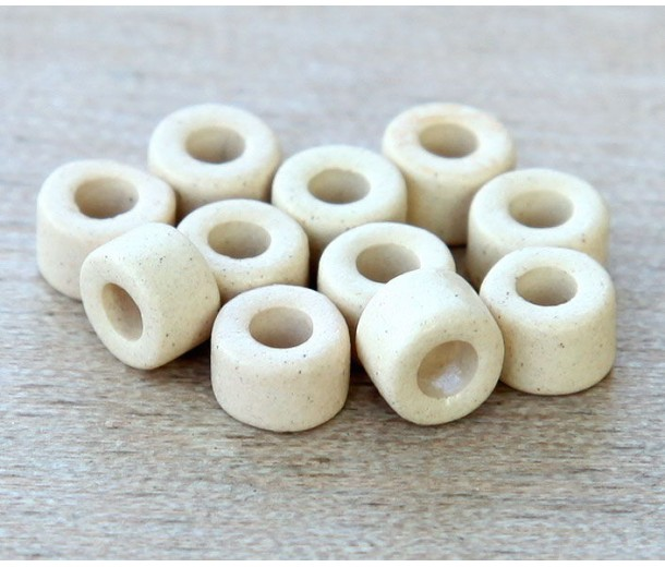 6x4mm Mini Barrel Matte Ceramic Beads, Ecru, Pack of 20