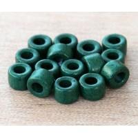 6x4mm Mini Barrel Matte Ceramic Beads, Dark Green, Pack of 20