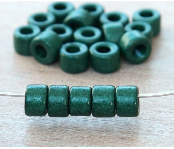 6x4mm Mini Barrel Matte Ceramic Beads, Dark Green