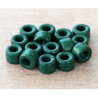 6x4mm Mini Barrel Matte Ceramic Beads, Dark Green, Pack of 20