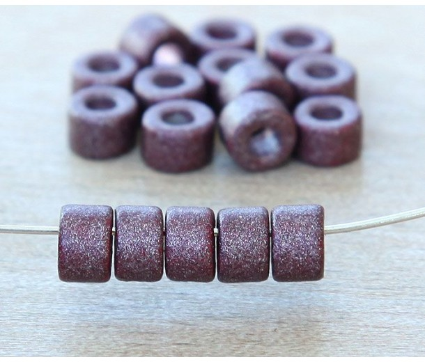 6x4mm Mini Barrel Matte Ceramic Beads, Purple Metallic
