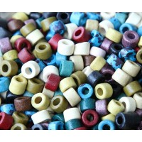 6x4mm Mini Barrel Matte Ceramic Beads, Earthy Assortment