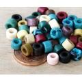 6x4mm Mini Barrel Matte Ceramic Beads, Earthy Assortment, Pack of 20