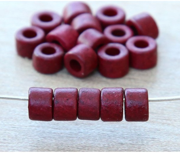 6x4mm Mini Barrel Matte Ceramic Beads, Dark Red
