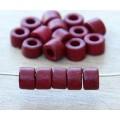 6x4mm Mini Barrel Matte Ceramic Beads, Dark Red, Pack of 20