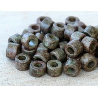 6x4mm Mini Barrel Matte Ceramic Beads, Dark Olive Mix, Pack of 20
