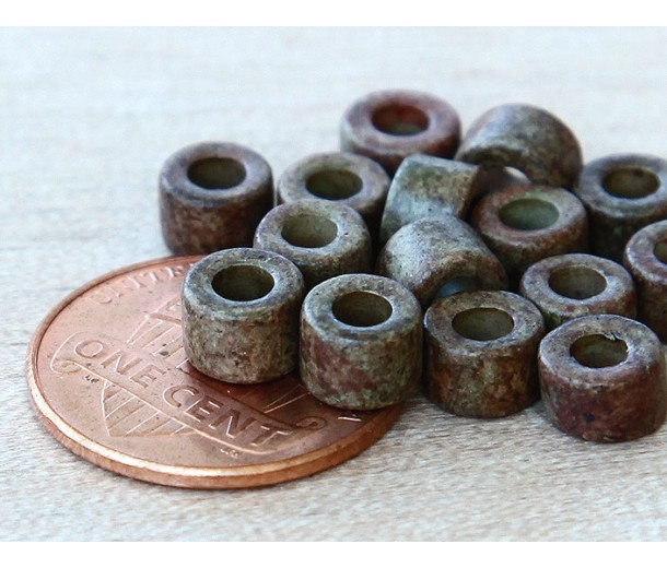 6x4mm Mini Barrel Matte Ceramic Beads, Dark Olive Mix, Pack of 20