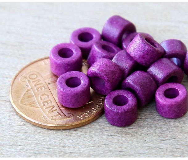 6x4mm Mini Barrel Matte Ceramic Beads, Dark Orchid