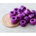 6x4mm Mini Barrel Matte Ceramic Beads, Dark Orchid, Pack of 20
