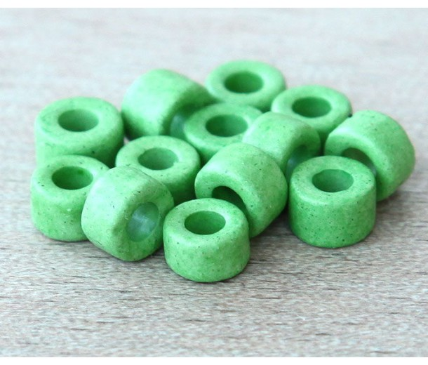 6x4mm Mini Barrel Matte Ceramic Beads, Pastel Green