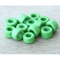 6x4mm Mini Barrel Matte Ceramic Beads, Pastel Green, Pack of 20