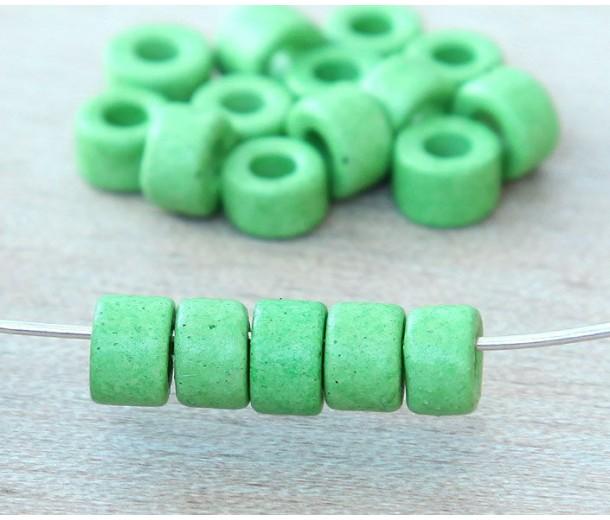 6x4mm Mini Barrel Matte Ceramic Beads, Pastel Green, Pack of 20