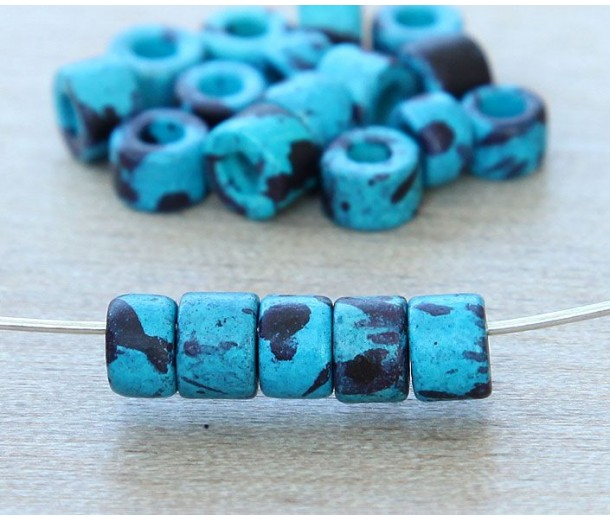 6x4mm Mini Barrel Matte Ceramic Beads, Blue Speckled