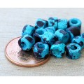 6x4mm Mini Barrel Matte Ceramic Beads, Blue Speckled, Pack of 20