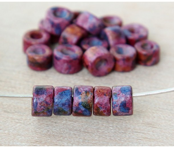 6x4mm Mini Barrel Matte Ceramic Beads, Fancy Purple Mix, Pack of 20