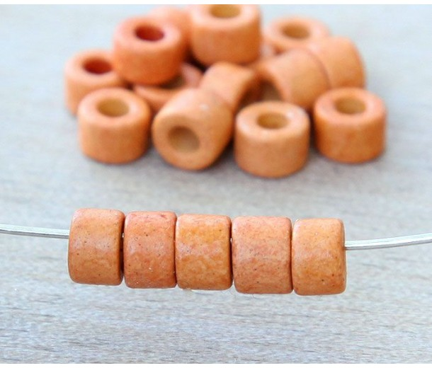 6x4mm Mini Barrel Matte Ceramic Beads, Orange