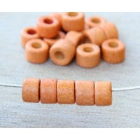 6x4mm Mini Barrel Matte Ceramic Beads, Orange, Pack of 20