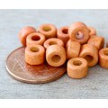 6x4mm Mini Barrel Matte Ceramic Beads, Orange, Pack of 20