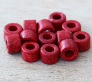 6x4mm Mini Barrel Matte Ceramic Beads, Red