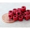 6x4mm Mini Barrel Matte Ceramic Beads, Red
