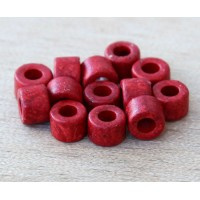 6x4mm Mini Barrel Matte Ceramic Beads, Red, Pack of 20