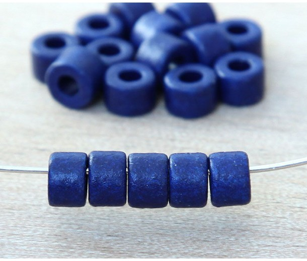 6x4mm Mini Barrel Matte Ceramic Beads, Royal Blue, Pack of 20