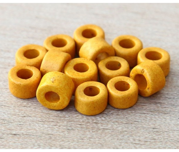 6x4mm Mini Barrel Matte Ceramic Beads, Yellow