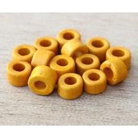 6x4mm Mini Barrel Matte Ceramic Beads, Yellow, Pack of 20