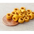 6x4mm Mini Barrel Matte Ceramic Beads, Yellow, Pack of 20