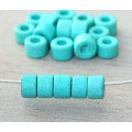 6x4mm Mini Barrel Matte Ceramic Beads, Turquoise, Pack of 20