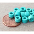 6x4mm Mini Barrel Matte Ceramic Beads, Turquoise