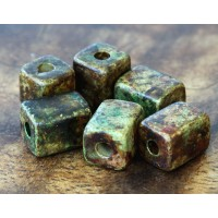 10x8mm Brick Matte Ceramic Beads, Dark Earthy Mix