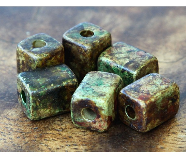 10x8mm Brick Matte Ceramic Beads, Dark Olive Mix