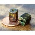 10x8mm Brick Matte Ceramic Beads, Dark Earthy Mix