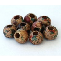8mm Round Matte Ceramic Beads, Speckled Mix