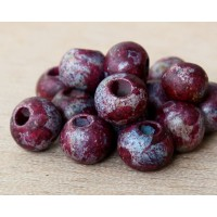 8mm Round Matte Ceramic Beads, Fancy Purple Mix
